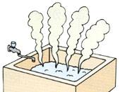 浴室のイラスト(浴槽に溜まったお湯が沸騰し危険な状況の絵)