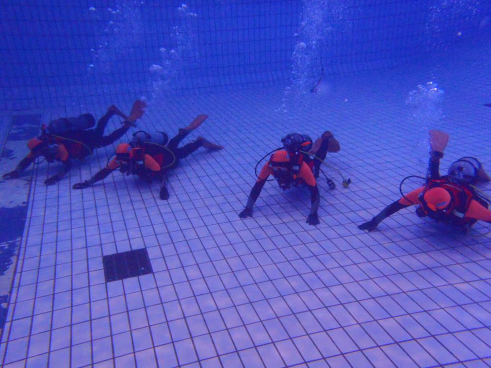 水中にもぐり水中訓練を行う消防士達の写真