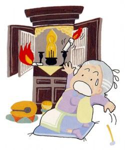 お仏壇から火のついたローソクが落下し慌てるおばあさんのイラスト